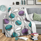 Bowling ball and pin gray background Premium Blanket