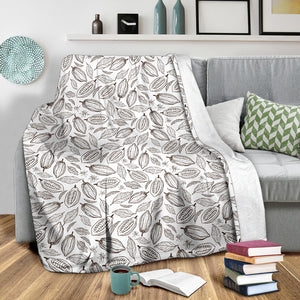 Cocoa Beans Leaves Pattern Premium Blanket