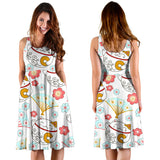 Maneki Neko Lucky Cat Fan Sakura Sleeveless Midi Dress