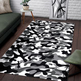 Black White Camo Camouflage Pattern Area Rug
