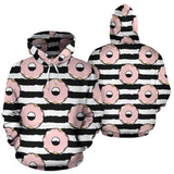 Donuts Pink Icing Striped Pattern Men Women Pullover Hoodie