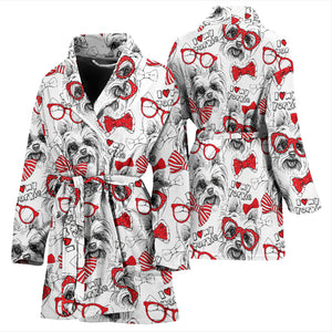 Yorkshire Terrier Pattern Print Design 04 Women's Bathrobe
