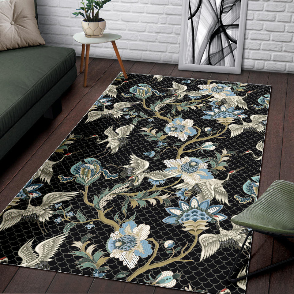Japanese Crane Ornament Elements Area Rug