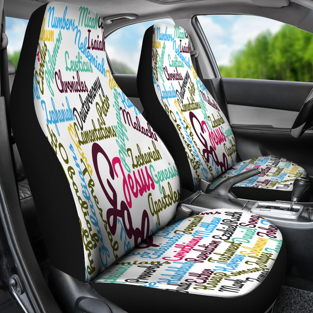 Custom-Made Holy Bible Books White Purple Car Seat Cover