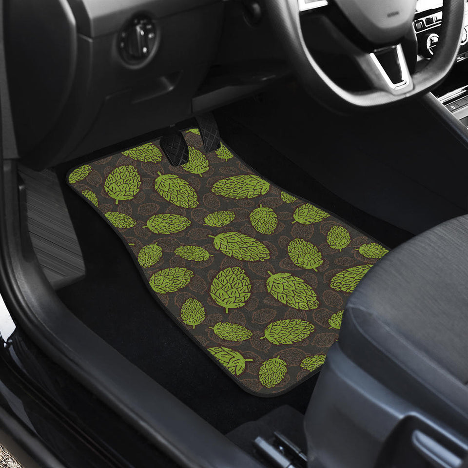 Hop pattern black background Front Car Mats