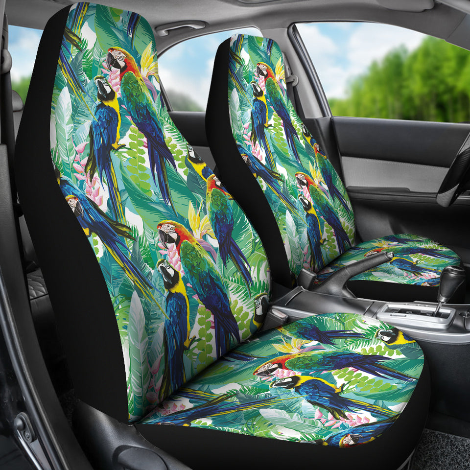 Colorful Parrot Exotic Flower Leaves  Universal Fit Car Seat Covers