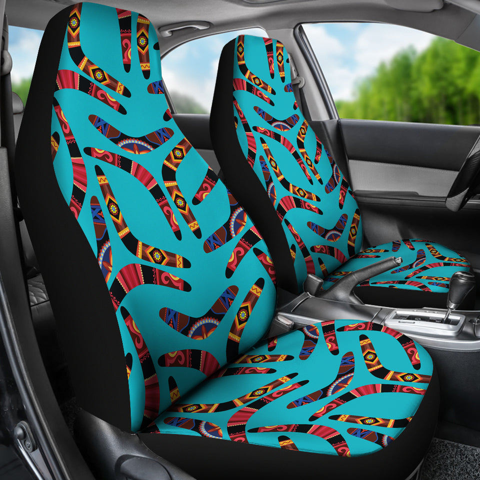 Boomerang Australian Aboriginal Ornament Blue Background  Universal Fit Car Seat Covers