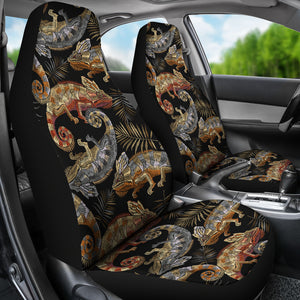 Chameleon Lizard Tropical Leaves Palm Tree Universal Fit Car Seat Covers