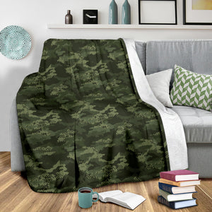 Digital Green camo camouflage pattern Premium Blanket