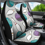 Bowling Ball And Pin Gray Background  Universal Fit Car Seat Covers