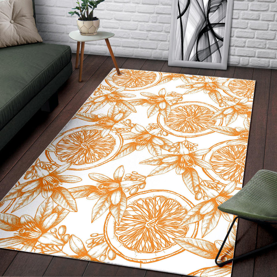 Hand Drawn Orange Fruit Pattern Area Rug
