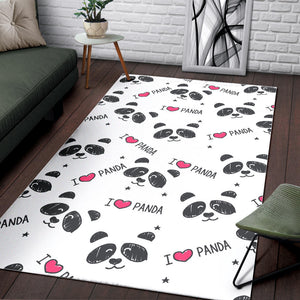 Hand Drawn faces of pandas pattern Area Rug