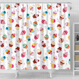 Cake Cupcake Design Pattern Shower Curtain Fulfilled In US