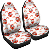 Daruma Japanese Wooden Doll Design Pattern Universal Fit Car Seat Covers