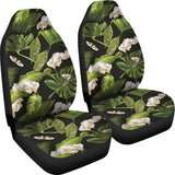 White orchid flower tropical leaves pattern blackground Universal Fit Car Seat Covers