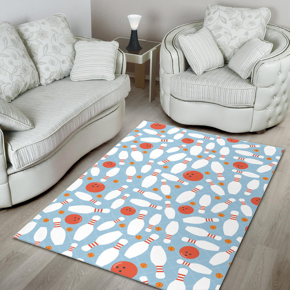 Bowling Ball Bowling Pins Blue Blackground Area Rug