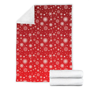 Snowflake Pattern Red Background Premium Blanket