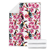 Toucan Flower Design Pattern Premium Blanket