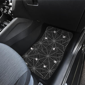 Spider Web Design Pattern Black Background White Cobweb Front Car Mats