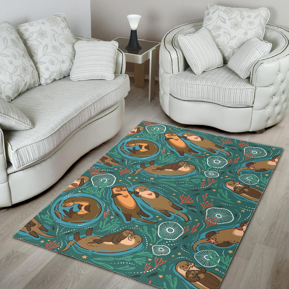 cute brown sea otters ornamental seaweed corals green water Area Rug
