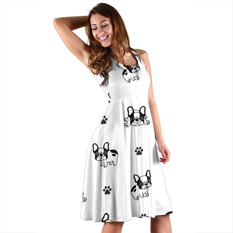 Cute french bulldog paw pattern Sleeveless Midi Dress