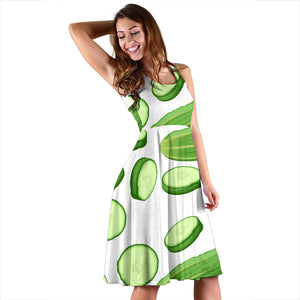 cucumber whole slices pattern Sleeveless Midi Dress