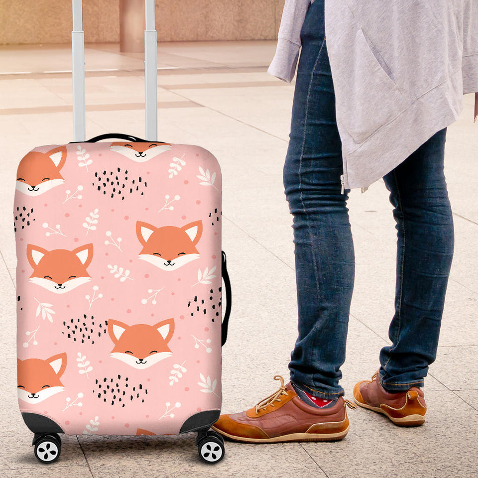 Cute fox pattern pink background Luggage Covers