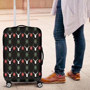 Deer Christmas New Year Pattern Argyle Luggage Covers