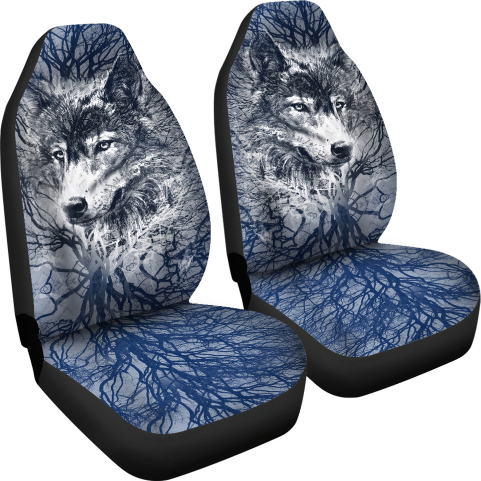 Wolf Behind Tree Car Seat Covers With Blue