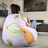 cute onions smiling faces purple background Bean Bag Chair