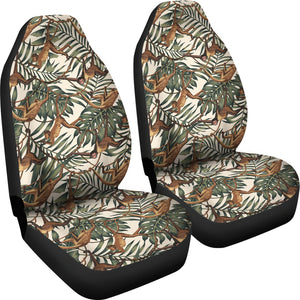 Monkey Tropical Leaves Background Universal Fit Car Seat Covers