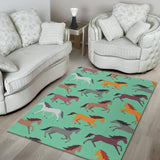 Colorful horses pattern Area Rug