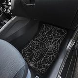 Spider web pattern Black background white cobweb Front Car Mats