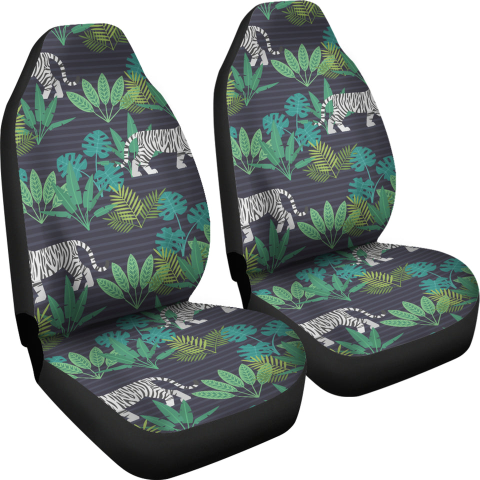 White Bengal Tigers Tropical Plant  Universal Fit Car Seat Covers