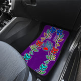 Generations Floral Purple With Bearpaw Front Car Mats (Set Of 2)