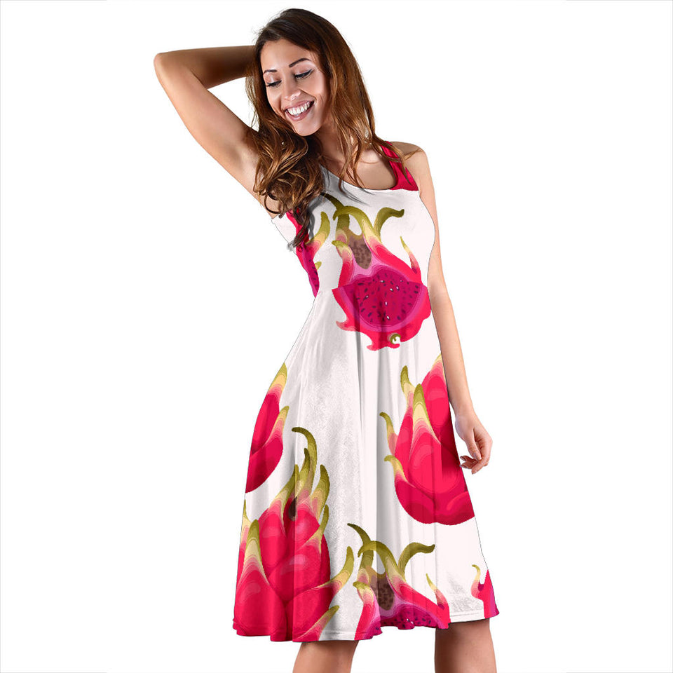 Dragon Fruits Design Pattern Sleeveless Midi Dress