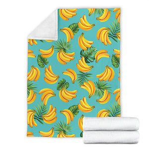 Banana Palm Leaves pattern background Premium Blanket
