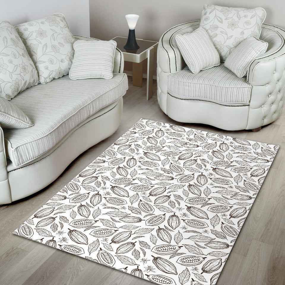 Cocoa Beans Leaves Pattern Area Rug