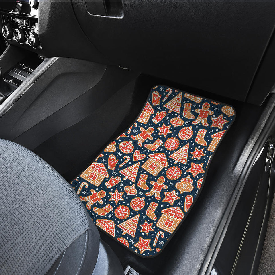 Christmas Gingerbread Cookie Pattern Front Car Mats