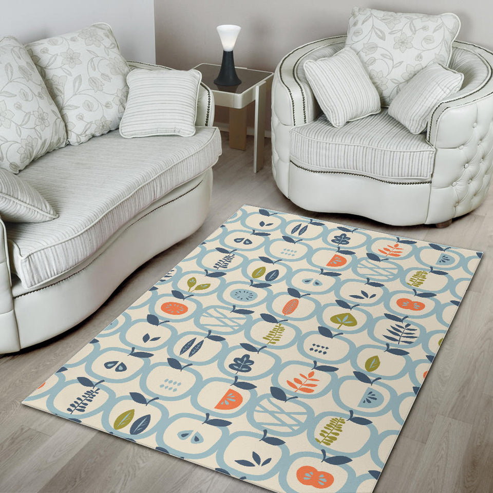 Apples Leaves Pattern Area Rug