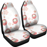Daruma Japanese Wooden Doll Cherry Blossom Flower Pattern Universal Fit Car Seat Covers
