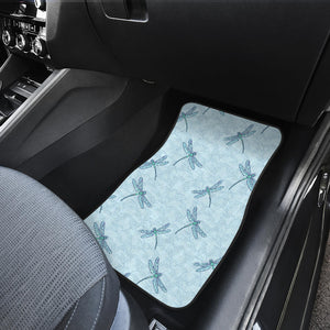 Dragonfly Pattern Blue Background Front Car Mats