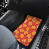 Oranges Pattern Red Background Front Car Mats
