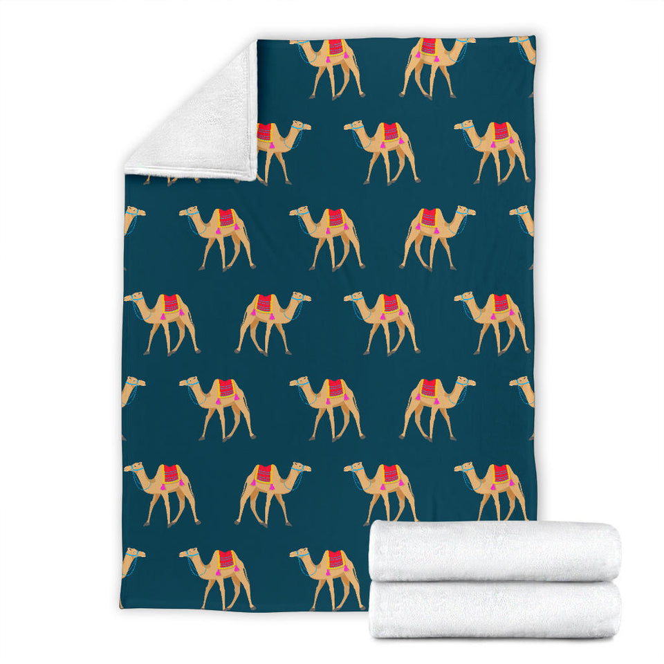 Camel Pattern Blue Blackground Premium Blanket