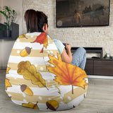 Maple leaf oak leaf acorns beige striped background Bean Bag Chair