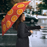 Oranges pattern red background Umbrella