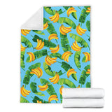 banana leaves banana design pattern Premium Blanket
