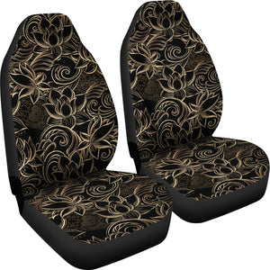 luxurious gold lotus waterlily black background Universal Fit Car Seat Covers