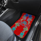 Floral Generations Red With Bearpaw Front Car Mats (Set Of 2)
