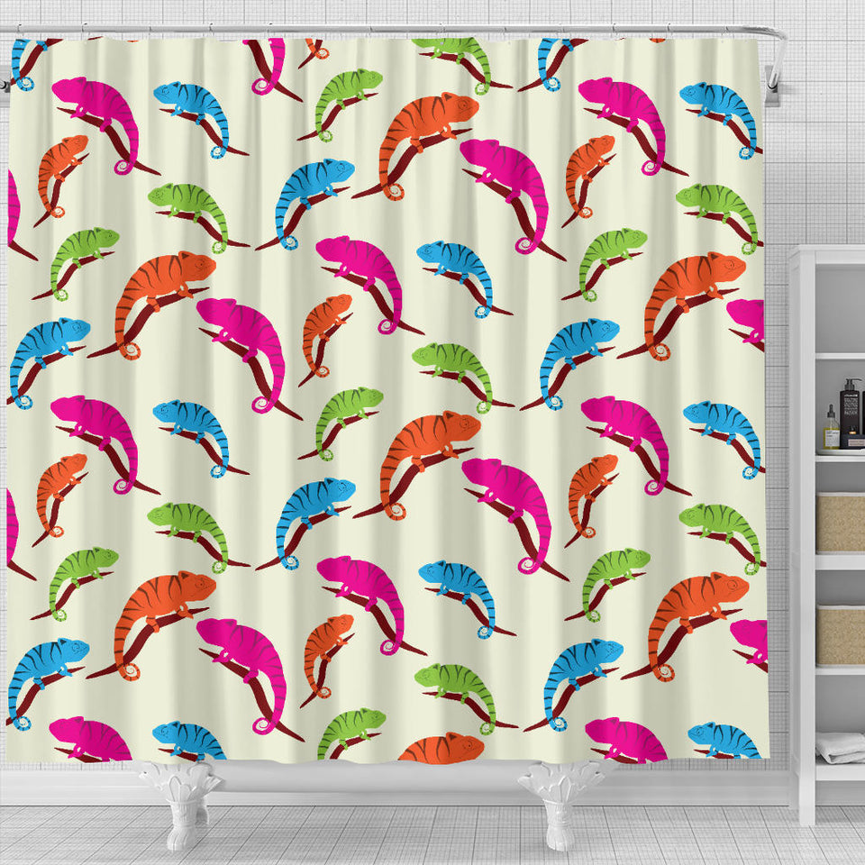 Colorful Chameleon Lizard Pattern Shower Curtain Fulfilled In US